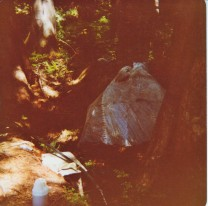 Sauna and gravity fed riverwater shower. A daily task was heating the rocks for the sauna in the campfire.